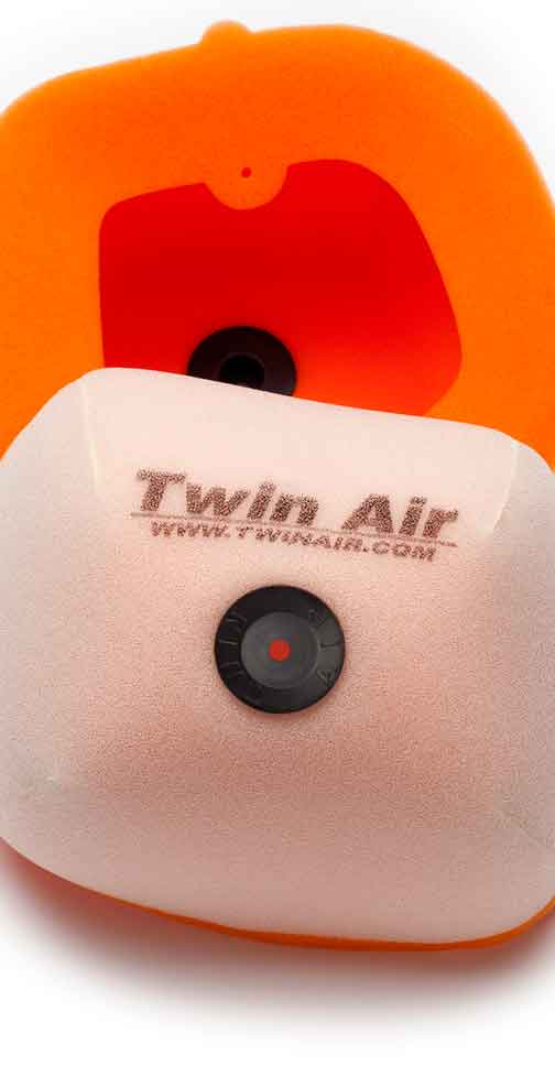 Inside and outside of Twin Air Original Dual Stage 2 stroke oil filters.